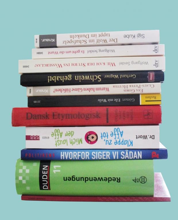 """Den stabel af sprogbøger, der benyttes i forbindelse med researchen. Der er mange tyske, ja, men mange danske udtryk kan spores tilbage hertil. Herunder """"Det regner skoma'rdrenge"""". Som endda har en berlinsk oprindelse!"""